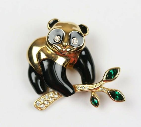 Joan Rivers Panda Bear Brooch Pin Never Worn HTF Blinding Beautiful