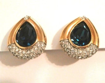 Swarovski Signed Gold Plated Clip Earrings w/Clear & Montana Blue Crystals