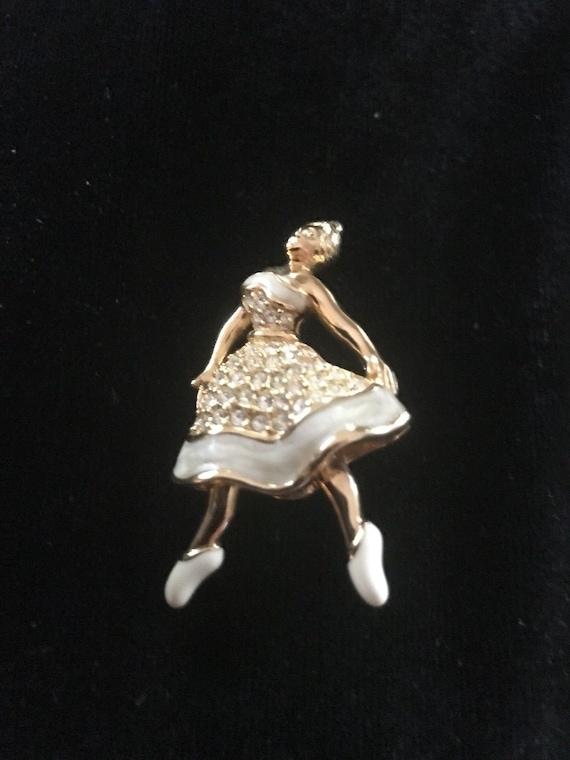Swarovski Signed Gold Plated Ballerina Pin Brooch