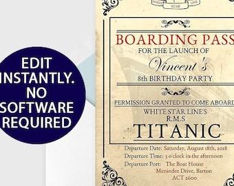 Titanic Party Boarding Pass Invitation Birthday Invite Nautical Supplies Digital Printable