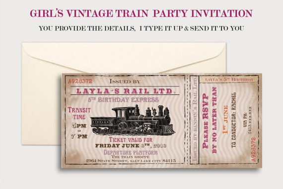 Train Birthday For Girl Theme Party Idea Steam Invitation Kids Vintage