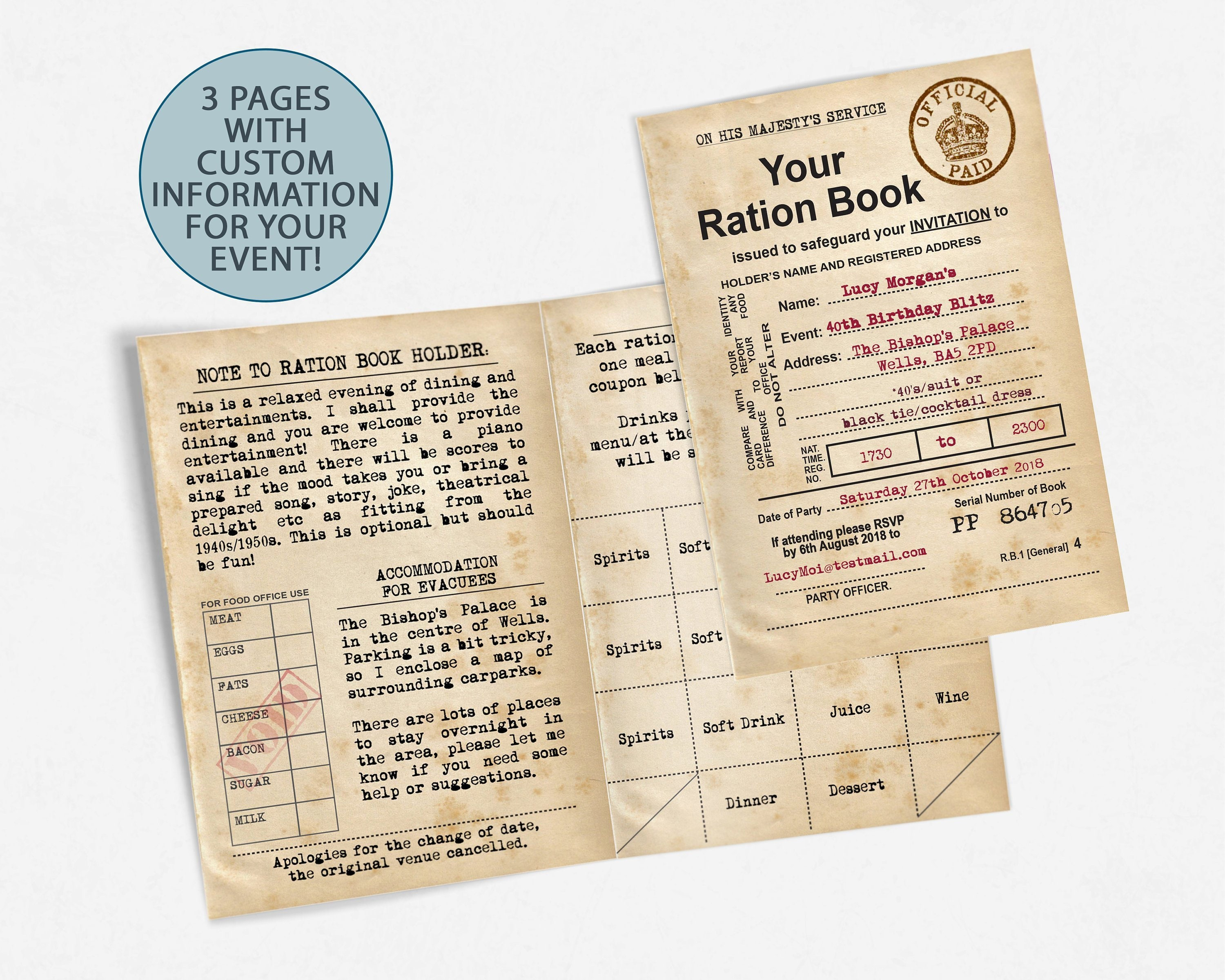 Ration Book Invitation 1940s 90th Birthday Party