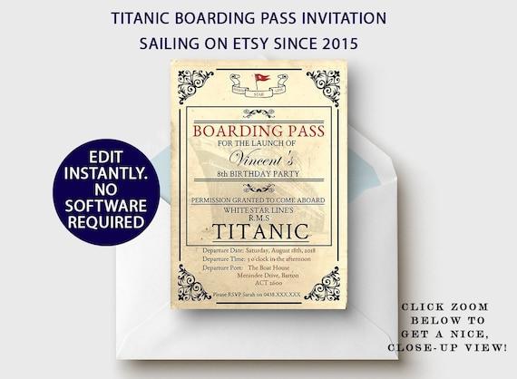 Titanic Party Boarding Pass Invitation Birthday