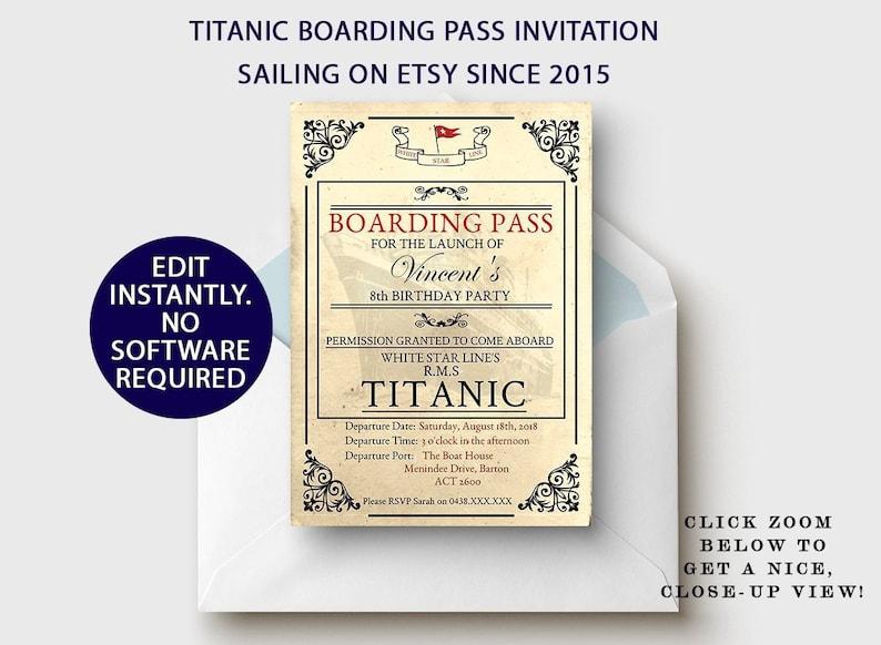 Titanic Party Boarding Pass Invitation Titanic Birthday Party Invite Titanic Wedding Invitation Digital Printable Invitation