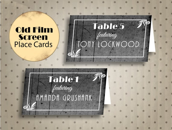 Hollywood Themed Decor Old Hollywood Party Place Cards