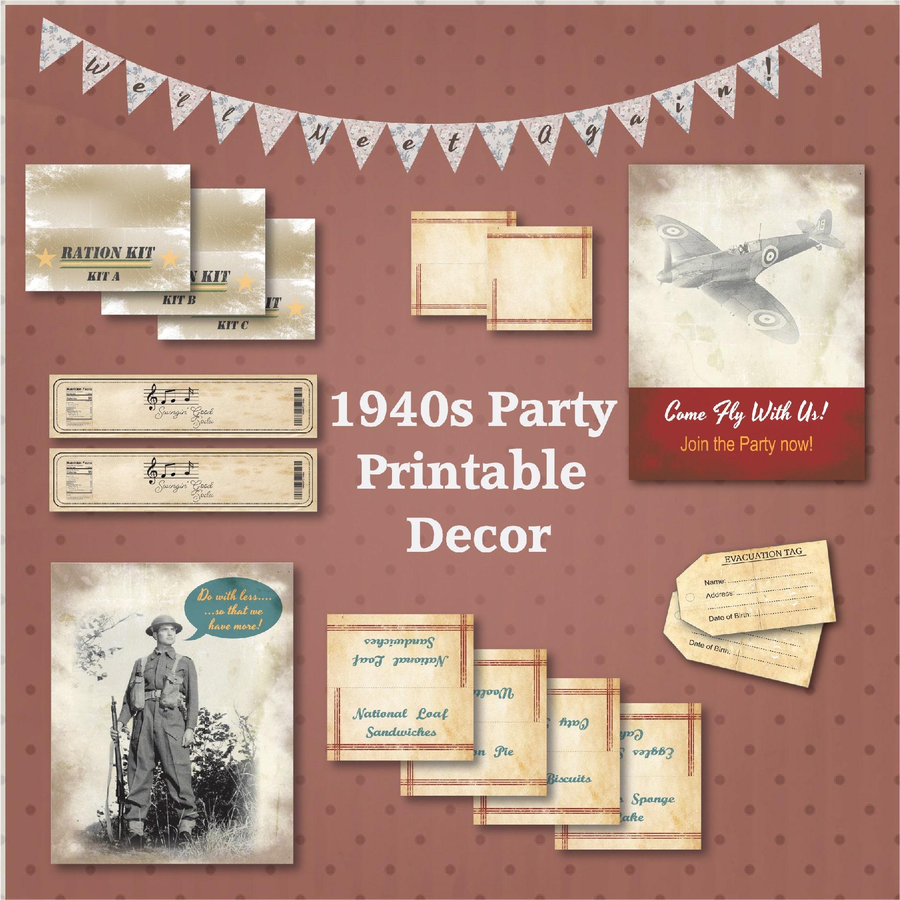 40th Birthday Ideas 1940s Party Printables 40th Birthday   Etsy