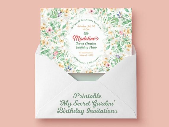 My Secret Garden Birthday Party Garden Party Invitation Secret
