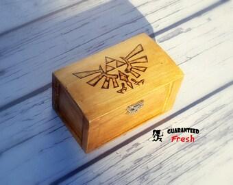 The Legend of Zelda Hyrule Wingcrest Triforce wood burned box - Custom made to order