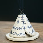 Unique Incense Burner TeePee, Handmade Ceramic, Matte Navy Blue Aztec Pattern, Stoneware Clay Pottery, Yogi, Off Grid, Meditation Altar
