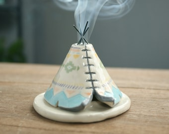 TeePee Incense Burner Holder, Handmade Ceramic, Pastel Colors, Boho Aztec Pattern, Bridesmaid Gift, Unique Bohemian Gift, Meditation Altar