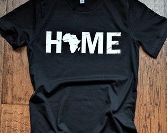 HOME AFRICA (Unisex) Africa t-shirt, I love Africa shirt, Africa, Nigeria, Madagascar, Ghana, Liberia, South Africa