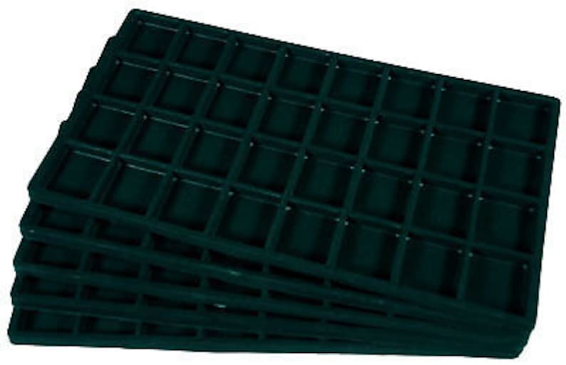 LOT OF 6  FLOCKED 32 COMPARTMENT RED INSERT 14 X 7 1//2