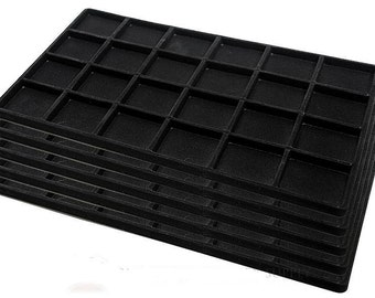 3 Black Insert Tray Liners W/ 24 Compartments Drawer Organizer bead storage  sc 1 st  Etsy & 3 32 Compartment Black Tray Insert Drawer Organizer Storage