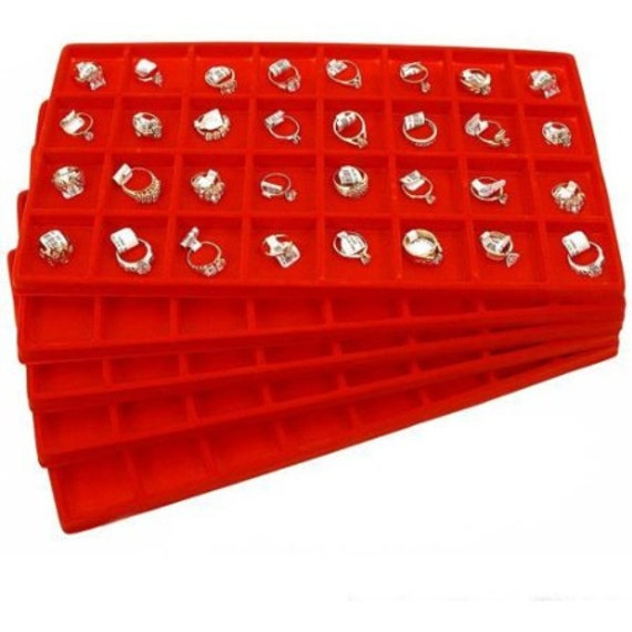 White Plastic Display Tray Red 8 Compartment Liner Insert Organizer Storage