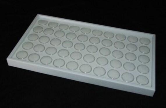 "White Jewelry Tray White 50 Gem Jars Showcase 1.5/"" Tray Gem Tray Gemstone Jars"