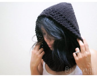 BUNNY SLOPE VACAY cowl hood one-size-fits-most hooded cowl millennial gift idea crochet hooded cowl Christmas gift idea winter hat