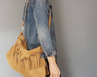 Soft Brown Fringe Suede Slouchy Bag of Happiness, Upcycled and OOAK