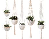 5 piece set macrame plant hanger macrame plant hangers with hooks crochet plant hangers boho wall art decor vintage style simple minimalist