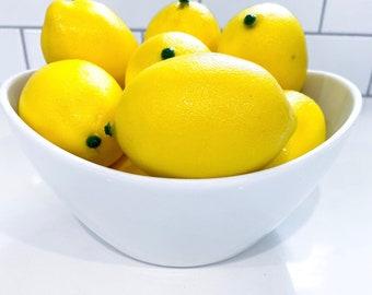 10 Fake artificial lemons lemon decor kitchen faux fake fruit, lemons organic decoration, faux lemons decoration craft supplies centerpiece