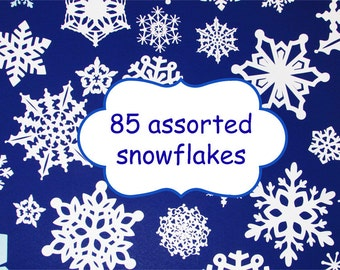 Paper Snowflake Cutouts Die Cuts White Snowflakes Christmas 3D Assorted