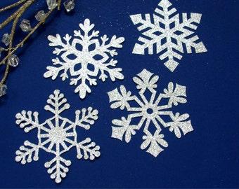 Silver Glitter Snowflake Cutouts Paper Die Cuts Snowflakes Big