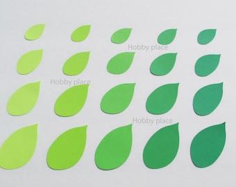 Paper  leaf die cuts / Green shade leaves/ Die Cut Leaves/ 50 pc set