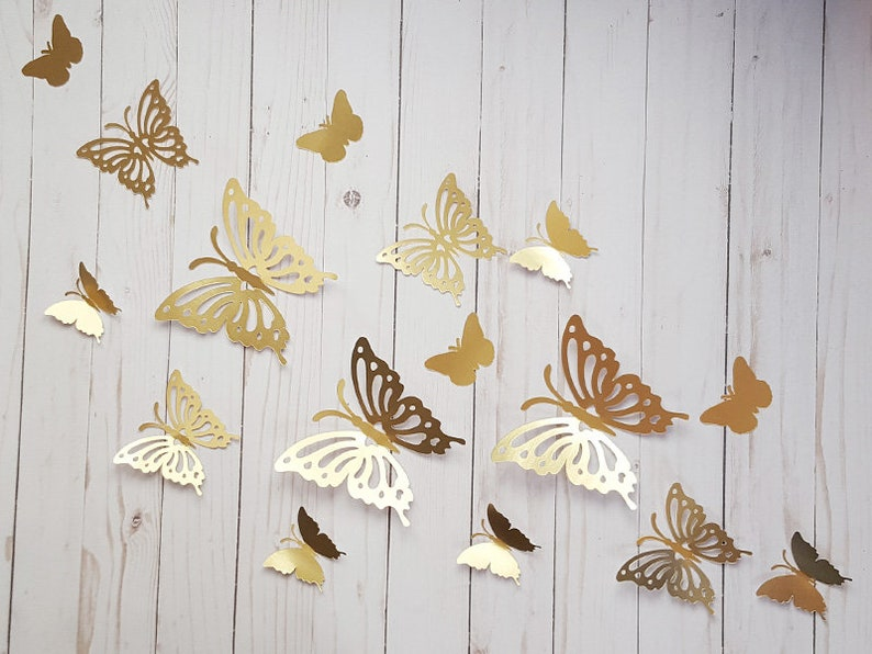 3D Gold Paper Butterflies Butterfly Wall Art Home
