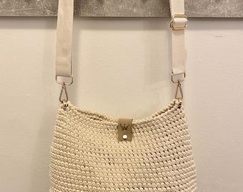 Crochet bag blocks handmade beige