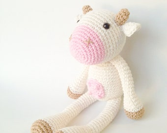 Cow Plush, Cow Stuffed Animal, Cow Plushie, Cow Stuffed Toy, Crochet Cow, Knit Cow, Farm Animals