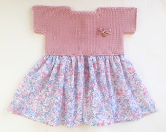 Floral dress set with matching diaper cover
