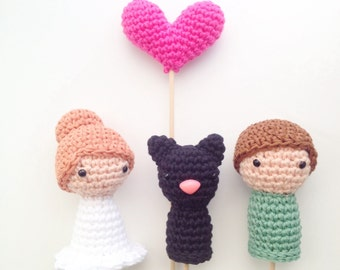 Wedding Cake Toppers (Bride, Groom, Pet and One Heart)