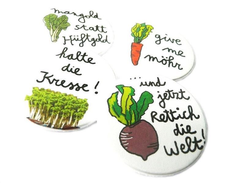 Gemüse Quartett Button-oder Magnet-Set 38mm 4-er Set. image 0