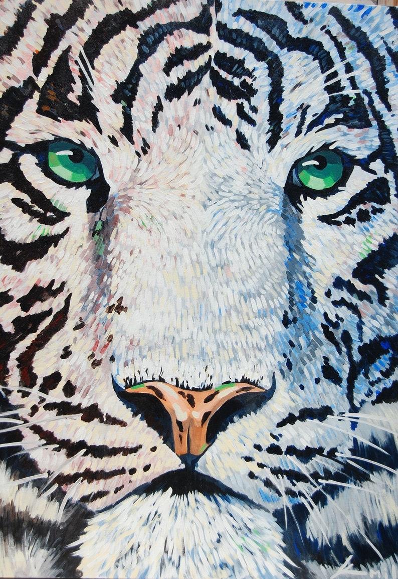 Original Acrylic Painting ''The White Tiger''   Etsy