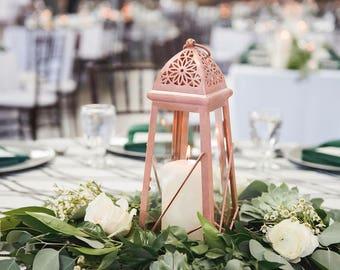 Rose Gold Lantern Centerpiece Rose Gold Wedding Decor Pink Etsy