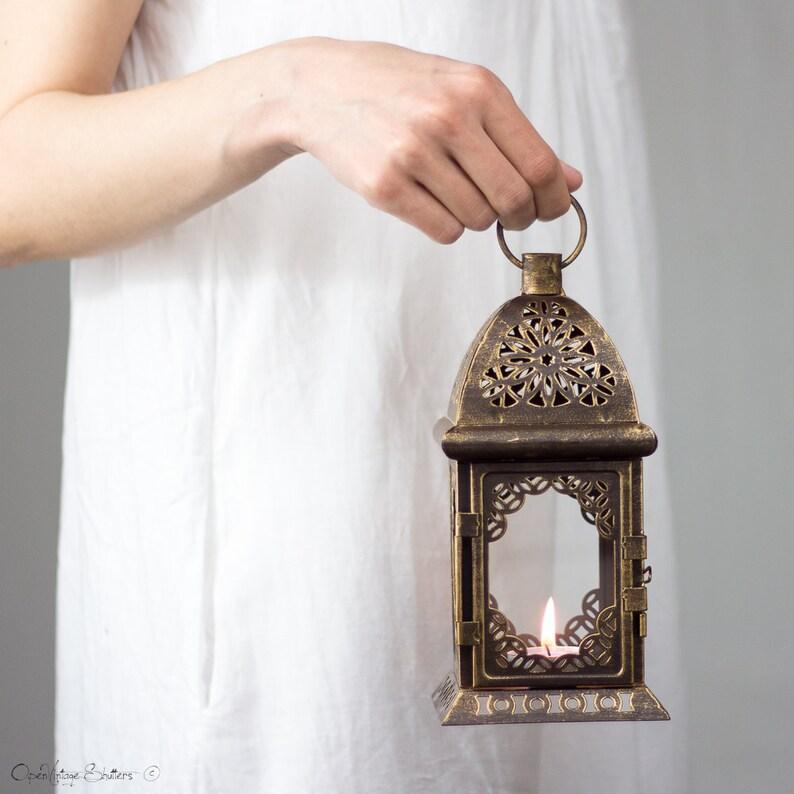 Set of 2 Lanterns Bronze Candle Holder Moroccan Lantern image 0