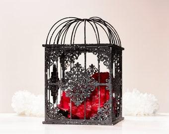 Gothic Card box wedding centerpiece Birdcage for taxidermy Gothic home decor Birdcage planter Black Wedding Halloween Table