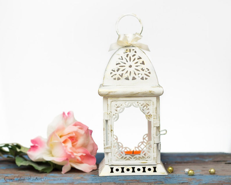 White Wedding Lantern Centerpiece Vintage Shabby Chic Etsy
