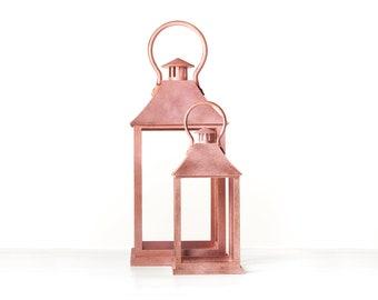 "Rustic Lantern 20"", Lantern Decor, Rose Gold Wedding Lantern Set, Wedding aisle centerpiece, vintage wedding decor"