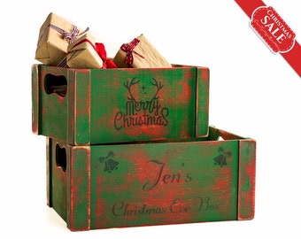 Personalizable Christmas stockings Reclaimed Wood Crates, Farmhouse Christmas decor,  Christmas decoration