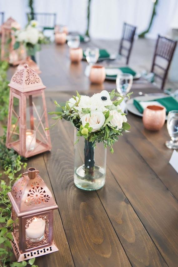 White Silver Moroccan Lantern - Rustic Moroccan Lanterns - Wedding Lantern  Centerpiece - Metal Candle Holder - Wedding Decor-Wedding Lantern