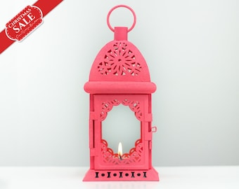 Holiday Gifts - Vintage Style Morocco Lantern - Exotic Wedding Arabic Decor - Coral Candle Lantern Holder - Christmas Decorations SET OF 2
