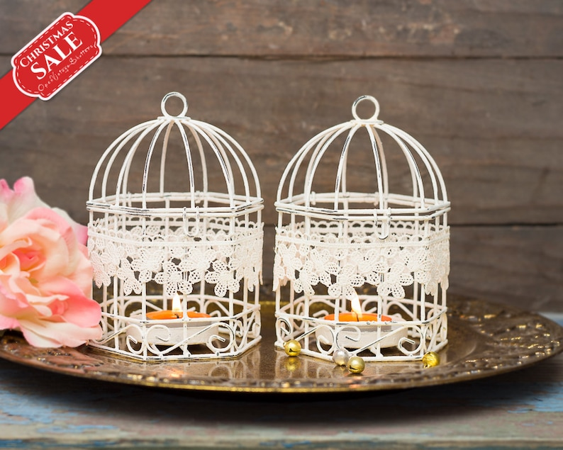 Wedding Favors Shabby Wedding Bird Cages Set 2 Metal Tealight Candle Holder  - Hanging Lanterns - Wedding bonbonniere - Christening Baptism