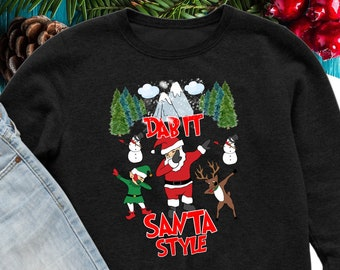 dabbing santa ugly christmas sweater etsy