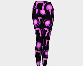 PURPLE VORTEX Yoga Leggings Eco Friendly Yoga Leggings Printed Yoga Pants Boho Artwear Custom Print Leggings Women's Workout Gym Pants