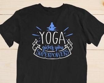 6deed73a66 Yoga Super Powers Shirt Yoga Gives You Superpowers Yogi Meditation Tshirt  Om Namaste Yoga Class Instructor Gift T-Shirts for Men and Women
