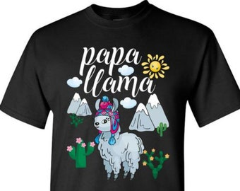 7dc1e3edee4 PAPA LLAMA Shirt Dad Llama TShirt Dads Gift Father Life T-Shirts Gift for  Men