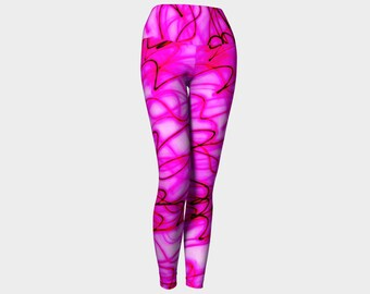 PINK DREAMS Yoga Leggings Eco Friendly Yoga Leggings Printed Yoga Pants Boho Artwear Custom Print Leggings Women's Workout Gym Pants