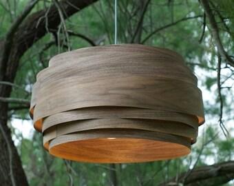"Free shipping, Pendant light, Pendant lamp, hanging lamp, hanging light, ceiling lamp, ceiling light, Walnut veneer lampshade,""Light Cloud"""