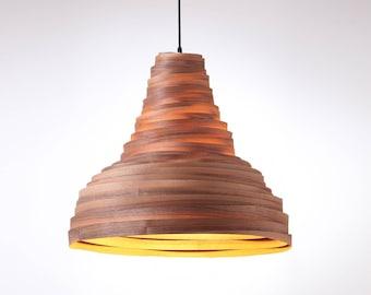 Free shipping, Pendant light, Pendant lamp, hanging lamp, hanging light, ceiling lamp, ceiling light, Black Walnut veneer lampshade,