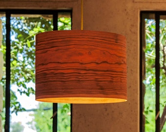 "Drum Shade Pendant light, Pendant lamp, hanging lamp, hanging light, ceiling lamp, ceiling light, Cherry veneer lampshade,""Cylinder"""